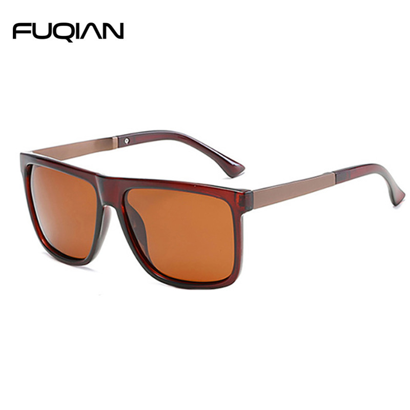 Classic Square Plastic Frame and Metal Temple Polarized Male Sunglasses