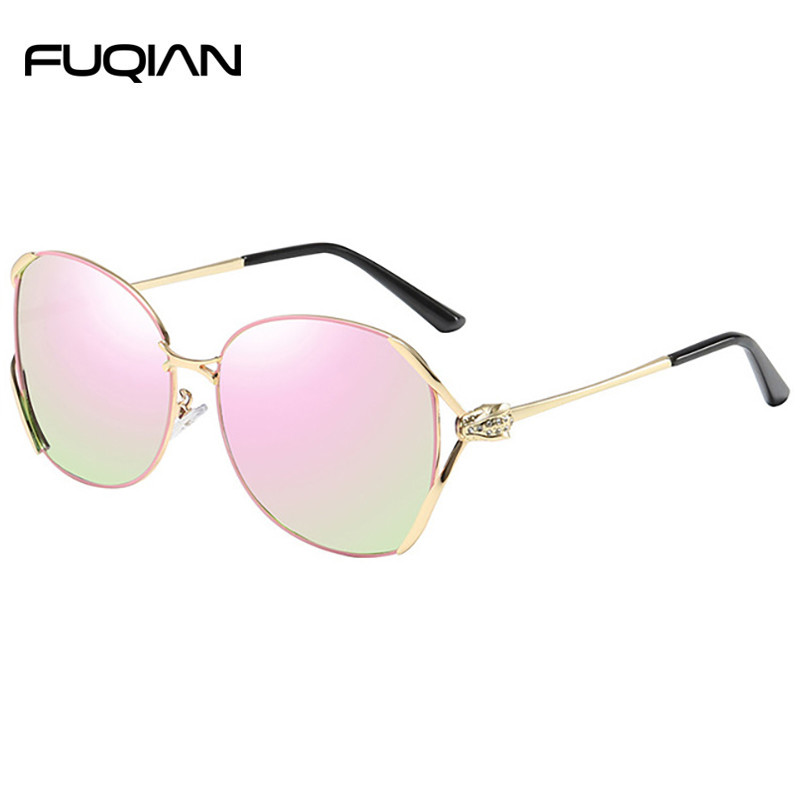 Fashion Metal Frame Custom Temple Polarized Women Female Sunglasses