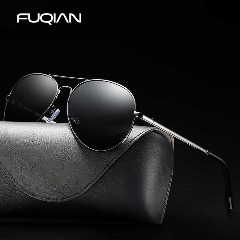 Classic Pilot Polarized Sunglasses Men Fashion Metal Sun Glasses Cool Black Driving Sunglass UV400 98023