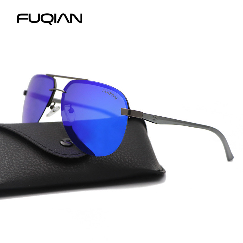 Fashion Rimless Pilot Men Polarized Sunglasses Stylish Aluminum Magnesium Sun Glasses Ice Blue Driving Eyewear UV400 90143