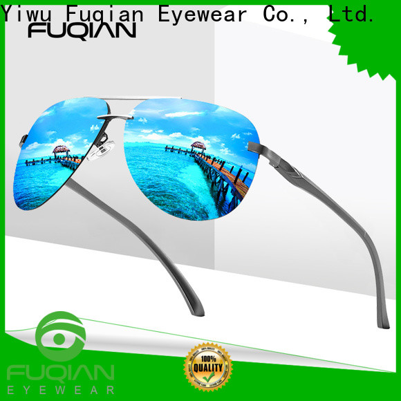 Fuqian polarized silver sunglasses mens for business for running
